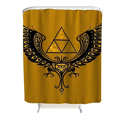 CATNEZA dreieck Zelda Muster Duschvorhänge Wasserdichtes Design Shower Curtain flügel Badewannenvorhang für Badezimmer Badewanne 150x200cm White 120x200cm