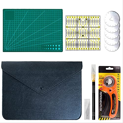 SDACMIK Fabric Cutters Kit, Rotary Cutter Set with 45mm Blades for Quilting Craft Cloth Leather Paper Mat Plastic 6 pcs