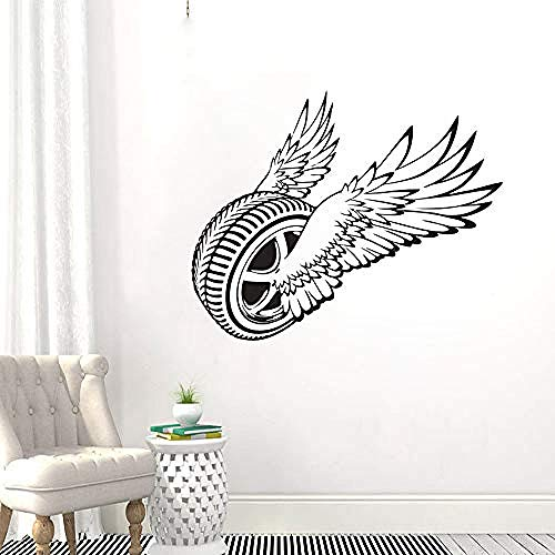 Etiqueta engomada de la pared del vinilo de la rueda alada Magic Flying Tyre Wall Art Decal Car Tire Service Wall Poster Decoración 71x57cm