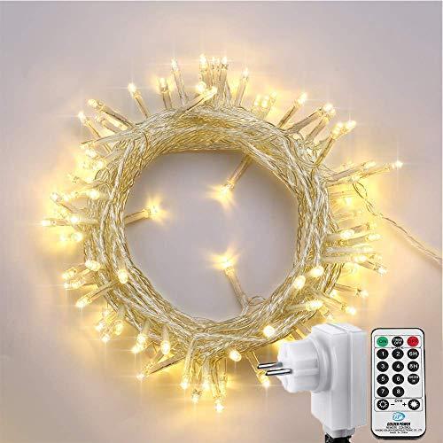 NEXVIN 100 LED Lichterkette Weihnachtsbeleuchtung in Warmweiß, 13m Lichterkette Steckdose mit Fernbedienung und Timer, 8 Modi Dimmbar, für Weihnachten Innen Außen Weihnachtsbaum Deko