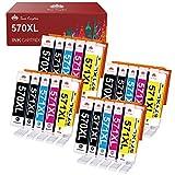 Toner Kingdom 20 Pack 570XL 571XL Cartuchos de Tinta Compatible para Canon PGI-570 CLI-571 XL para PIXMA MG5750 TS5053 TS5050 MG5751 TS5055 MG6850 MG5753 MG6851 MG6852 TS6051 TS6050