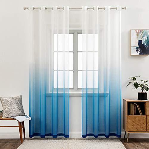 MIULEE Sheer Vorhang Voile Farbverlauf Dekoschal Vorhänge mit Ösen transparent Gardine 2 Stücke Ösenvorhang Gaze paarig Fensterschal für Wohnzimmer 175 cm x 140 cm(H x B) 2er-Set Dunkelblau