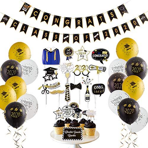 Easy Joy Abschlussfeier Party Dekoration Set 2020 Graduation Deko Abschluss Girlande Abitur Accessoires Graduierung Fotorequisiten