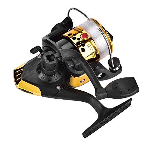 Carretes de pesca spinning Carretes de pesca de mar Carrete de hilado pesca Velocidad: 5.1: 1 Enchapado de plástico Carrete de pesca de giro ligero Accesorio de tackle - Azul, Amarillo, Rojo(amarillo)