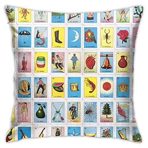 WH-CLA Throw Pillow Covers Colorido Mexicano Loteria Cards Funda De Almohada Dormitorio Sofá Sala De Estar Funda De Almohada Decorativa 45X45Cm Cuadrado Cremallera para El Hogar Durable
