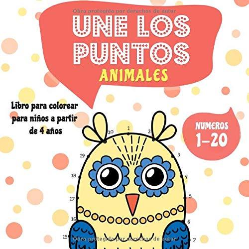 Une los puntos - Animales: Libro para colorear para niños a partir de 4 años - Del 1 al 20 (Unir puntos para niños)