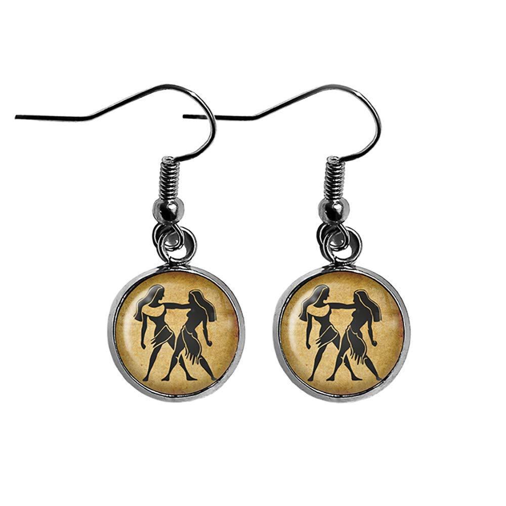 Zodiac Symbol Astrology 100% quality warranty! Gemini Steel Surgical Earrings Trust