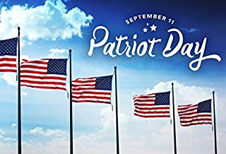 Leyiyi 7x5ft Photography Background Septemner 11th Patriot Day American Flags Flying Blue Sky Cloud Boy Scout Memorial Party Backdrop Army Photo Portrait Vinyl Studio Video Shooting Prop