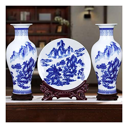zxb-shop Maceteros de Interior Jingdezhen Florero de cerámica de Porcelana Azul y Blanca Grande, Estilo Chino clásico, Utilizado para la decoración del hogar o Regalos para Amigos, jarrón 3