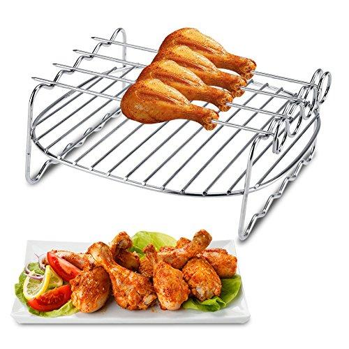 Zilver RVS Dubbele Laag Skewers Bakplaat BBQ Rack Vervanging voor Philips Air Fryer