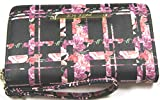 Betsey Johnson Zip Around Black and Pink Plaid Floral Wristlet Wallet