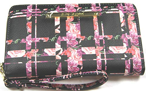 """Faux Leather Wallet with detachable wristlet Zip Closure 12 Credit Card Slots, ID Holder Full Size Zippered Change Purse and Dual Currency Pockets 8 1/4"""" x 4 1/2"""" x 1"""" Betsey Johnson signature logo name in gold tone hardware"""