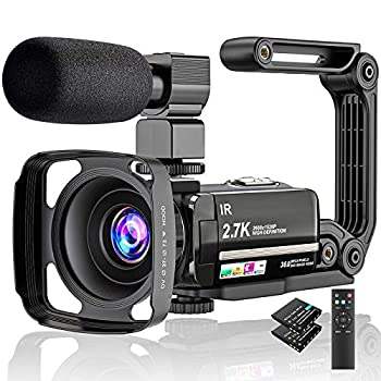 Video Camera 2.7K Camcorder Ultra HD 36MP Vlogging Camera for YouTube IR Night Vision 3.0  LCD Touch Screen 16X Digital Zoom Camera Recorder with Microphone Handheld Stabilizer Remote Control