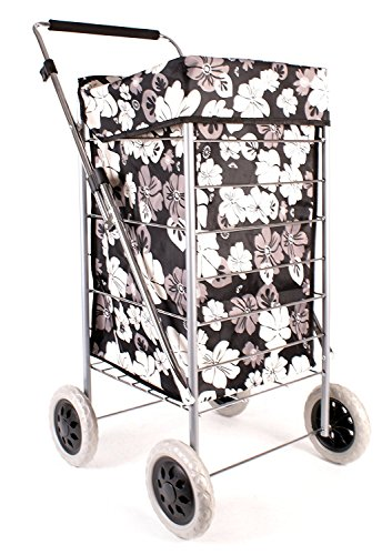 Premium 4 Wheel Shopping Trolley with Adjustable Handle Black with Grey and White Floral Print