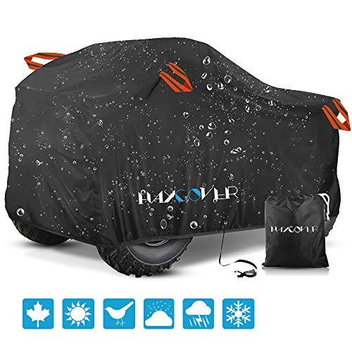 Haycover cover made up of special textile waterproofing process to protect ATV againts all weather conditions.Waterproof ATV Cover, for Polaris Sportsman Outlaw Yamaha Grizzly Wolverine YFZ Honda Sportrax TRX Kawasaki Bayou Wheel Car Black 79x37x42 inch(L)