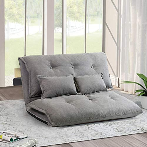 JERRY MAGGIE Sofa Bed Floor Cute Futons Sets with 2 Pillows Comfortable Adjustable Sofa TV Floor product image