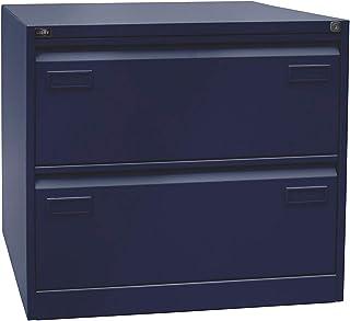 Bisley Classeur pour dossiers suspendus LIGHT, à 2 rangées, 2 tiroirs, format A4, bleu oxford - Armoire de bureau Armoires...
