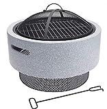 made2trade Premium Grill - Feuerstelle - Terrassenkamin - Tragbar mit abnehmbaren Grillrost, Funkengitter und Schürhaken - Rund - 52,5 x 52,5 x 29,5cm