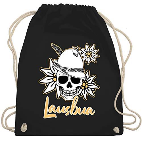 Shirtracer Kompatibel mit Oktoberfest Tasche Accessoires - Lausbua Totenkopf mit Edelweiß - weiß - Unisize - Schwarz - Lausbub - WM110 - Turnbeutel und Stoffbeutel aus Baumwolle