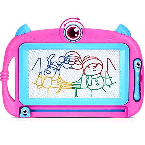 Peradix Pizarras de Dibujo magnética Infantil, Pizarra Magnética con Dos Plumas Mágicas Portátil Tablero de Dibujo Borrable Creatividad Educativos cumpleaños para Niños Rosa