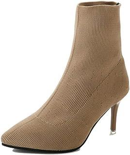 Stivaletto da donna tinta unita punta a punta tacco alto casual scarpe da festa da donna stivali leggeri con calzini elast...