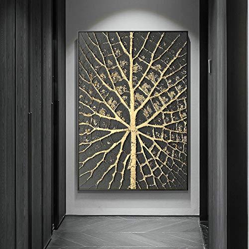 Abstrakte goldene Punkt-Leinwand, die Plakate und Drucke an der Wand malt, moderne goldene rahmenlose dekorative Wandbilder im Wohnzimmer A76 50x70cm