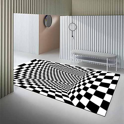 ACKW Alfombra 3D Vortex Illusion,Enrejado Agujero Profundo Estera Felpudo Alfombra,Blanca Y Negra Antideslizante Alfombrilla para Sala De Estar-D 40x60cm