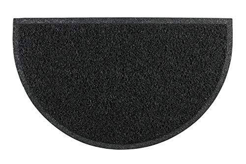 LucaHome - Felpudo Rizo Villena Negro Semiluna con Base Antideslizante Muy Absorbente, Felpudo 45x75cm Rizos PVC, Felpudo para Exterior e Interior