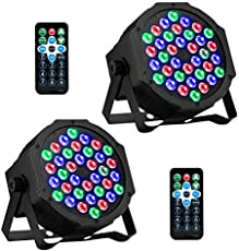 DJ Lights 36 LED RGB Uplighting 9 Modes Sound Activated AOELLIT Stage Par Lights with Remote Control Compatible with DMX, LED Up Lights for Wedding, Event, Party and Festival 2 Pack