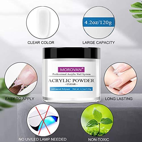 Morovan Clear Acrylic Powder for Acrylic Nails Art Nail Extension Carving Adhere 4 OZ
