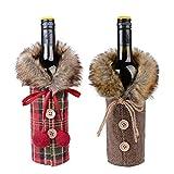 FLOFIA 2pcs Cubierta de Botella de Vino de Navidad Ropa Funda Botella Vino Champán para Decoración Navidad Mesa Regalo Banquete Talla Uniersal...