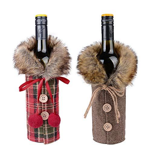 FLOFIA 2pcs Cubierta Botella Vino Navidad