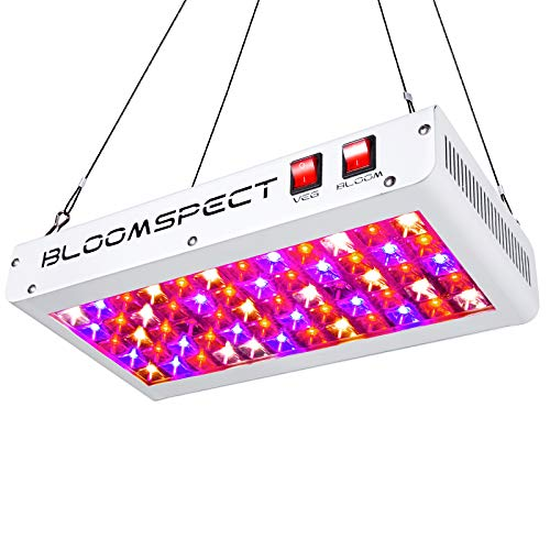 BLOOMSPECT Reflector Series 600W LED Grow Light Full Spectrum for Indoor Plants Veg and Flower with Veg Bloom Switch & Daisy Chain (60pcs 10W LEDs)