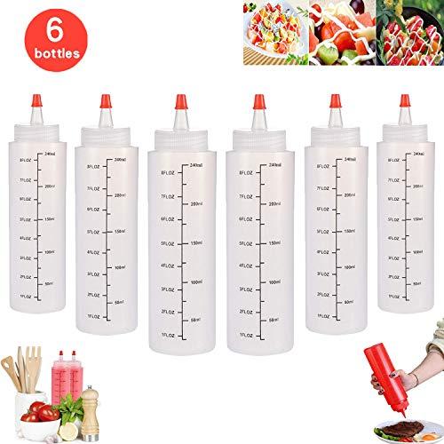 WELLXUNK Squeeze Flasche aus Kunststoff, 6 Stück 250ml Plastik Quetschflasche, Liquid-Flaschen mit Auslaufsicher Tip Cap & Messungen, Aufbewahrungsbehälter für Ketchup/Senf/Mayo/Soßen/Olivenöl