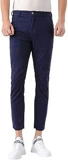 Plaid&Plain Men's Slim Fit Khaki Pants Stretch Cropped Chino Pants