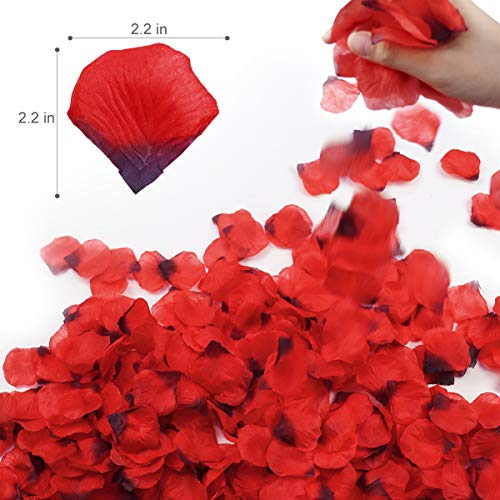 Rose Petals 3000Pcs, BESTORE Artificial Flower Petals Confetti Flower for Wedding, Romantic Night Valentine's Day Hotel Home Party Decoration Dark Red Silk Flower Arrangements