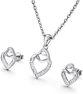 Niome Crystal Pendant Necklace Earrings Set For Women