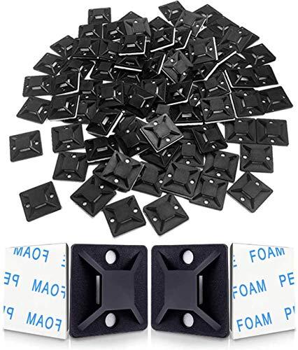 Hipeqia 120 Stück Klebesockel für Kabelbinder (18.5 mm x 18.5 mm), Schraubsockel Selbstklebend, Montagesockel Kabelbinder, Montagesockel Kabelbinderhalter Set (schwarz)