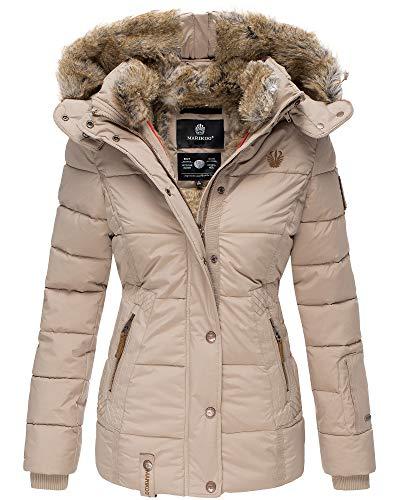Marikoo Damen Winter Jacke Stepp Jacke Kunst-Fellkragen Warm gefüttert NKO167 (Large, Taupe)