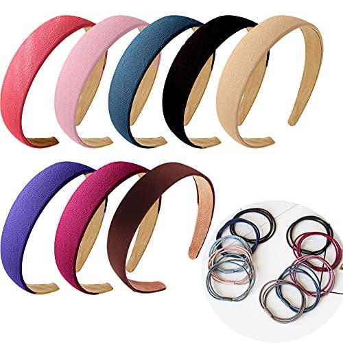 XIANGLONGY 8 diademas para el pelo de mujer y 10 cintas elásticas para el pelo, accesorios para el pelo, antideslizantes, para mujer, abombado (18 unidades en total)