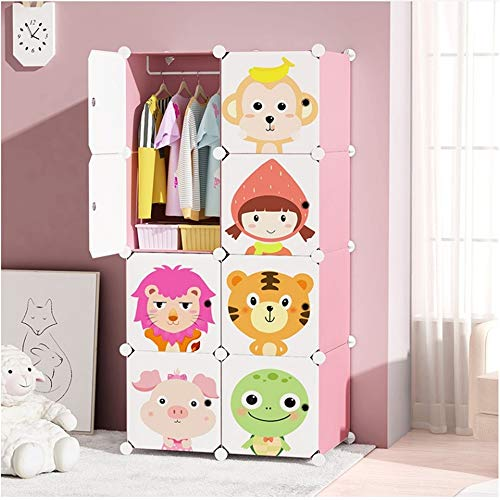 Storage Organiser Cube Stackable Resin Wardrobe DIY Movable Wall Cabinet for Babies Nursery Cartoon Animals Designed Cabinet Storage Unit Organiser Portable Cabinet