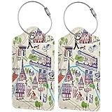 Etiquetas de equipaje con mapa ilustrado de París para maletas, bolsa de viaje con funda de privacidad (2 unidades)