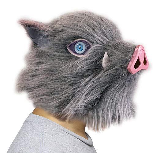 BIRDEU Demon Slayer Maske Hashibira Inosuke Cosplay Kostüm Latex Schweinekopf Helm Spiel Kleidung Zubehör für Erwachsene Herren Halloween