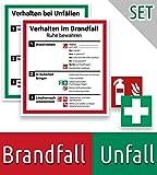 Schild Aushang Verhalten im Brandfall und Verhalten bei Unfällen als Set, Klebe Plakat 18x20cm, mit UV-Schutz, PVC-Aufkleber, ISO 7010, Betriebsaushang Notfallplan