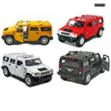 Kinsmart Set of 4: 5' 2008 Hummer H2 SUV 1:40 Scale (Black/Red/White/Yellow)