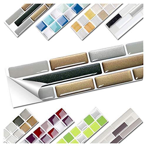 Wandora 1 Set Fliesenaufkleber 27,9 x 4,3 cm Kupfer dunkelgrau Silber Ziegel Design 6 I 3D Mosaik Fliesenfolie Küche Bad Aufkleber W1536