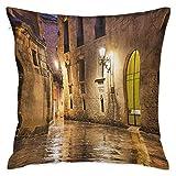 Fundas de almohada cuadradas góticas Barrio gótico de piedra...