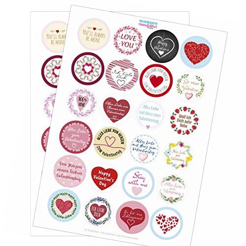 48 moderne Design Etiketten, rund/Bunter Mix/Viele Verschiedene Sticker/Valentinstag/Liebe/Herzen/Hochzeit/Geschenk-Aufkleber/Sticker /