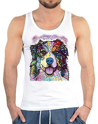 Hunde Motiv Muskelshirt Tank Top Herren: Australian Shepherd USA Dog Shirt Dogs Hunde Hund Männertop