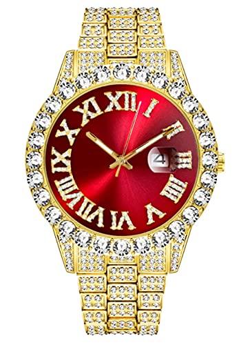 CDPC Reloj de Cuarzo con Personalidad, Reloj de Diamantes con Personalidad Hip Hop para Hombre, Rojo Dorado